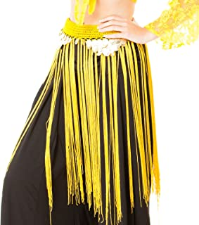 Turkish Emporium Belly Dance Fusion Coin Fringe Skirt with Strings