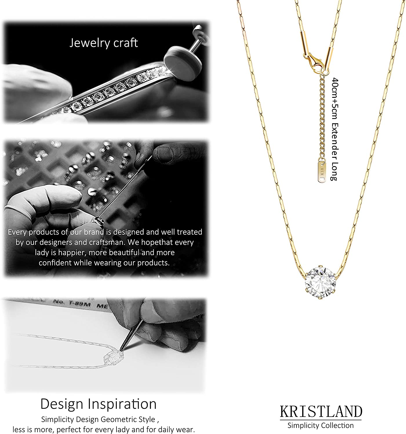 KristLand - 18K Gold Plated Cubic Zircon Solitaire Necklace 6MM CZ Simulated Diamond Dainty Stone Pendant for Women Chain 15.7''+2''