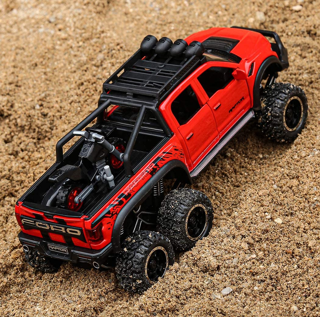 Toy Pickup Trucks for Boys F150 Raptor DieCast Metal Model Car with Sound and Light for Kids Age 3 Year and up