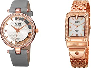 Burgi Women's Diamond and Crystal 2 Watch Set - 1 Accented Stainless Bracelet, and 1 Floating Dial with Satin Strap Watch Packed in a Gift Box - BUR178