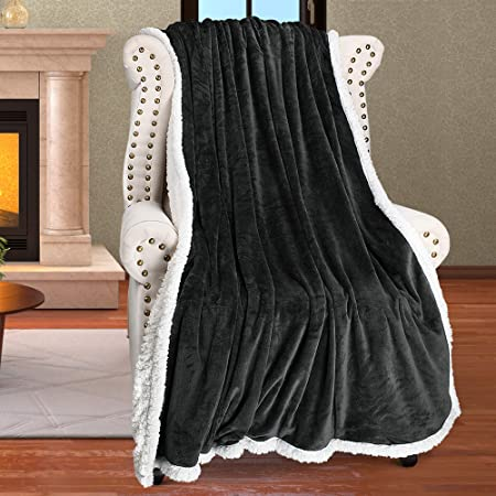 Hiyoko 3D Micromink Flannel Sherpa Super Soft Throw Blanket 60 X 80 Gray