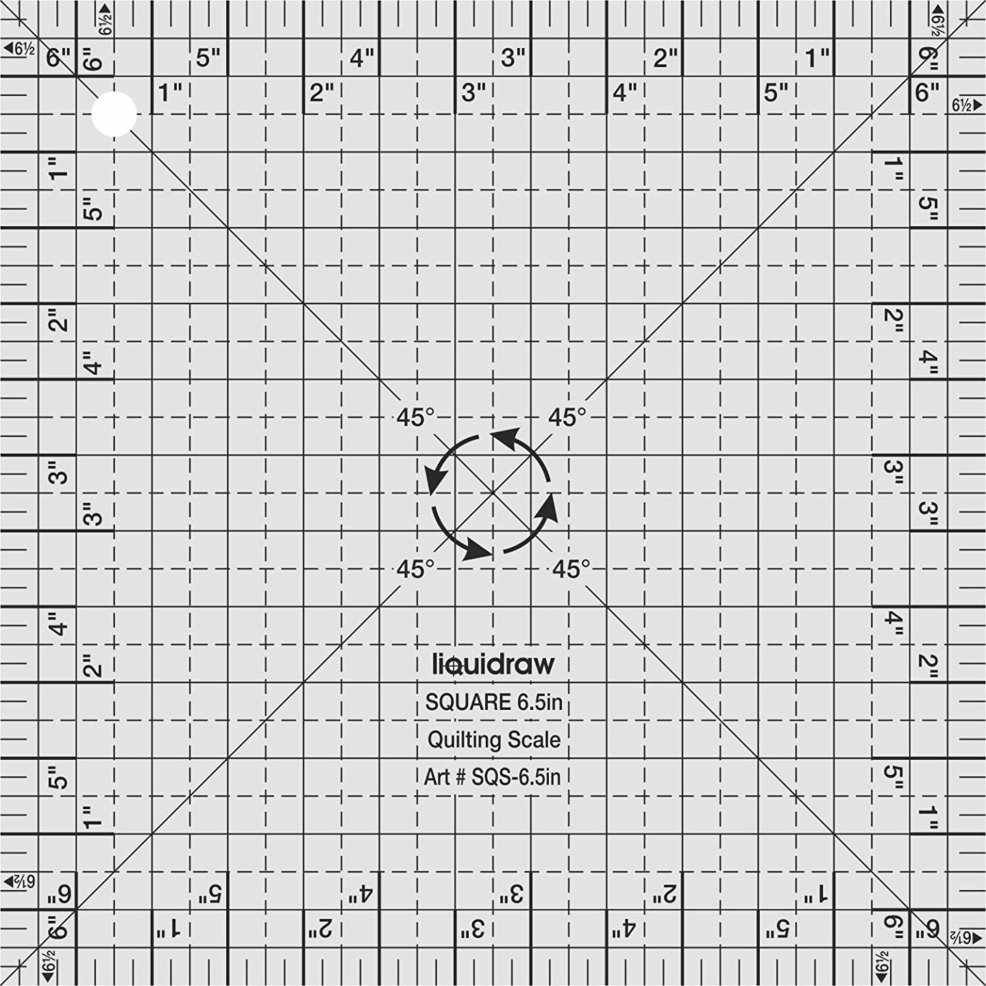 Liquidraw Square Quilting Ruler, Clear Acrylic Template, Imperial 6.5