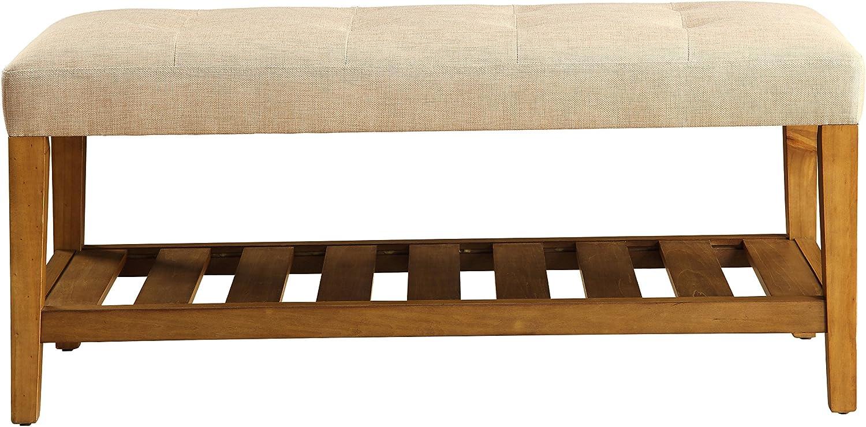 ACME Furniture  Charla Bench, Beige & Oak $79.38 Coupon