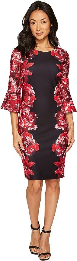 Print Scuba Crepe Sleeve Dress
