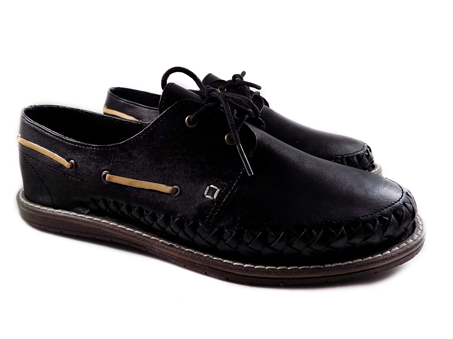 Mexican huaraches for men top - moccasins siders Luxury goods safety Black