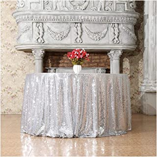Poise3EHome 120-Inch Round Sequin Tablecloth for Party Cake Dessert Table Exhibition Events, Silvery