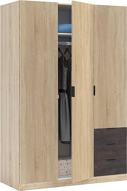 Habitdesign Armario Ropero de Tres Puertas y Tres Cajones, Acabado en Color Roble Canadian y Oxido, Medidas: 121 cm (Ancho) x 180 cm (Alto) x 52 cm ...