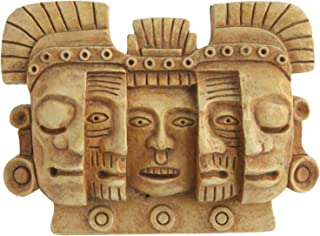 Culture Spot Mayan Mask of Death and Rebirth Human Evolution Wall Art Relief | Wall Hanging Sculpture | Stone Finish | Ready to Hang | Colombian Design | Small