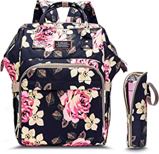 CoolBELL Baby Diaper Bag Backpack Water-Resistant Multi-Functional Wide Opening Nappy Bag Include Changing Pad/Insulated Pouch for Travel/Baby Care/Mom (Peony)