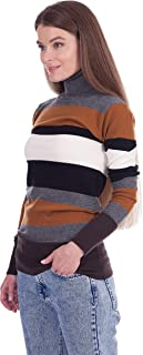 Fancy Stitch Women's Turtleneck Color Block Stripe Knitted Wool Sweater Blouse Top