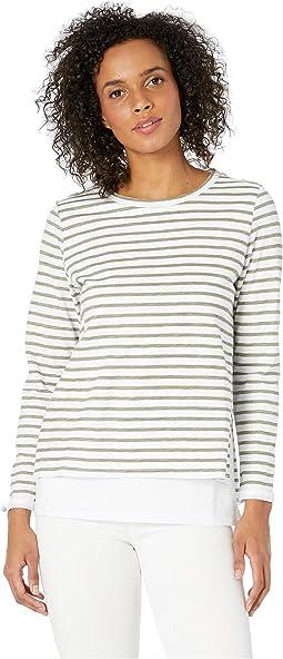 e65c22876f5 Tribal long sleeve printed blouse w tassel at collar