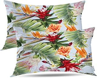Batmerry Floral Tropical Decorative Pillow Covers, Abstract Tropical Floral Aloha Double Sided Throw Pillow Covers Sofa Cu...