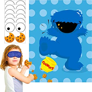 PANTIDE Sesame Party Games for Kids | Pin The Eye and Cookies on The Cookie Monster | Make-a-Face Sticker Game | Sesame Th...