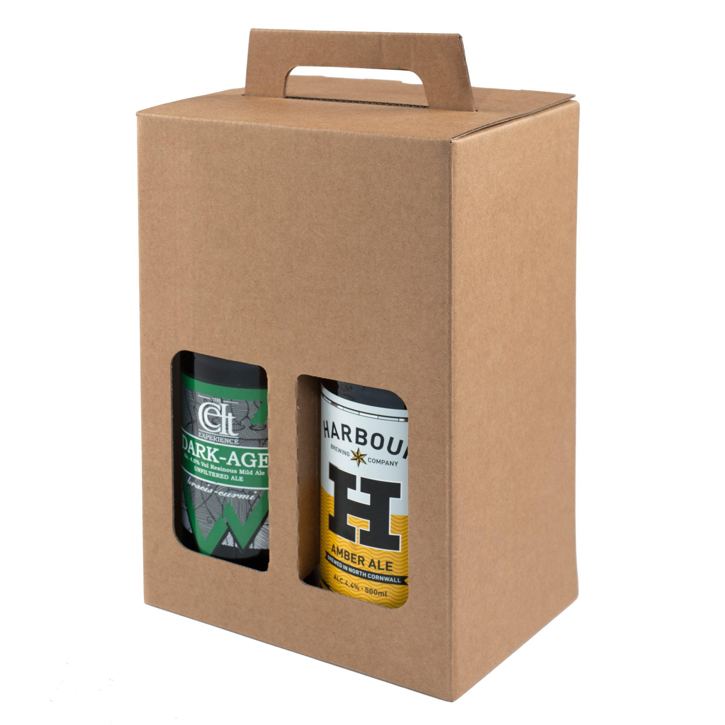 Pack de 20 – 4 cajas de regalo para botellas de cerveza de 500 ml (marrón liso): Amazon.es: Oficina y papelería