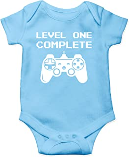 Level One Complete - My Daddy is A Gamer - Its My First Birthday - Cute One-Piece Infant Baby Bodysuit