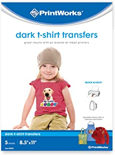 """Printworks Dark T-Shirt Transfers, Perfect for DIY Christmas Presents and Crafts, For Use on Dark and White/Light Fabrics, Photo Quality, For Inkjet Printers, 5 Sheets, 8 ½"""" x 11"""" (00529)"""