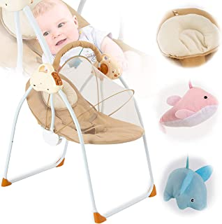 Baby Swing Baby Rocking Chair 3-speed Adjustment Baby Swings for Infants with Soothing Swing Removable Mattress and Music ...