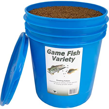 Natural Waterscapes Game Fish Food Variety   Pond and Lake Fish Food Pellets   22 lb Pail   Feed to Bass, Bluegill, Trout   Floating Pellets