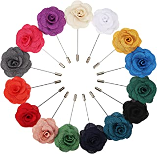 Pangda 15 Pieces Men's Lapel Pin Handmade Camellia Flower Boutonniere for Suit Wedding Groom, 15 Colors