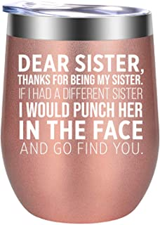 Sisters Gifts from Sister, Brother - Funny Gifts for Sister - Sister Gifts for Women - Christmas, Birthday Wine Gifts for ...