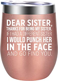 Sister Gifts form Sister - Sister Gifts, Thanks for Being My Sister - Little, Big Sister Gifts, Sisters Gifts - Sister Birthday Gift, Christmas Wine Gifts for Sister - GSPY Sister Mug Wine Tumbler Cup