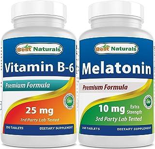 Best Naturals B6 25 mg 250 Tablets & Melatonin 10mg 240 Tablets