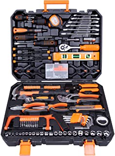 CARTMAN Tool Set 168Pcs Orange, General Household Hand Tool Kit with Plastic Toolbox, Electrician's Tools in Storage Case
