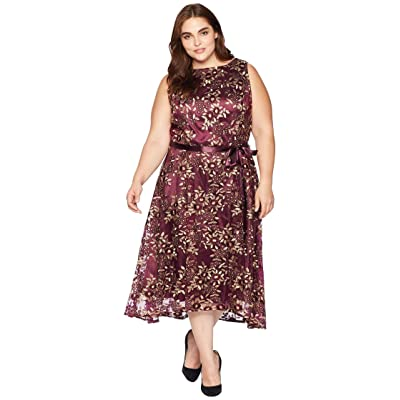 Tahari by ASL Plus Size Embroidered Mesh Midi Dress (Aubergine/Gold) Women