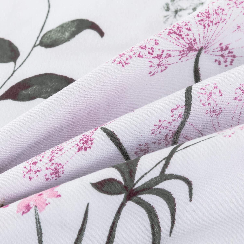 Carisder Floral Duvet Cover Set Kids Soft White Comforter Cover Set 2 Pieces Bedding Sets Floral Twin
