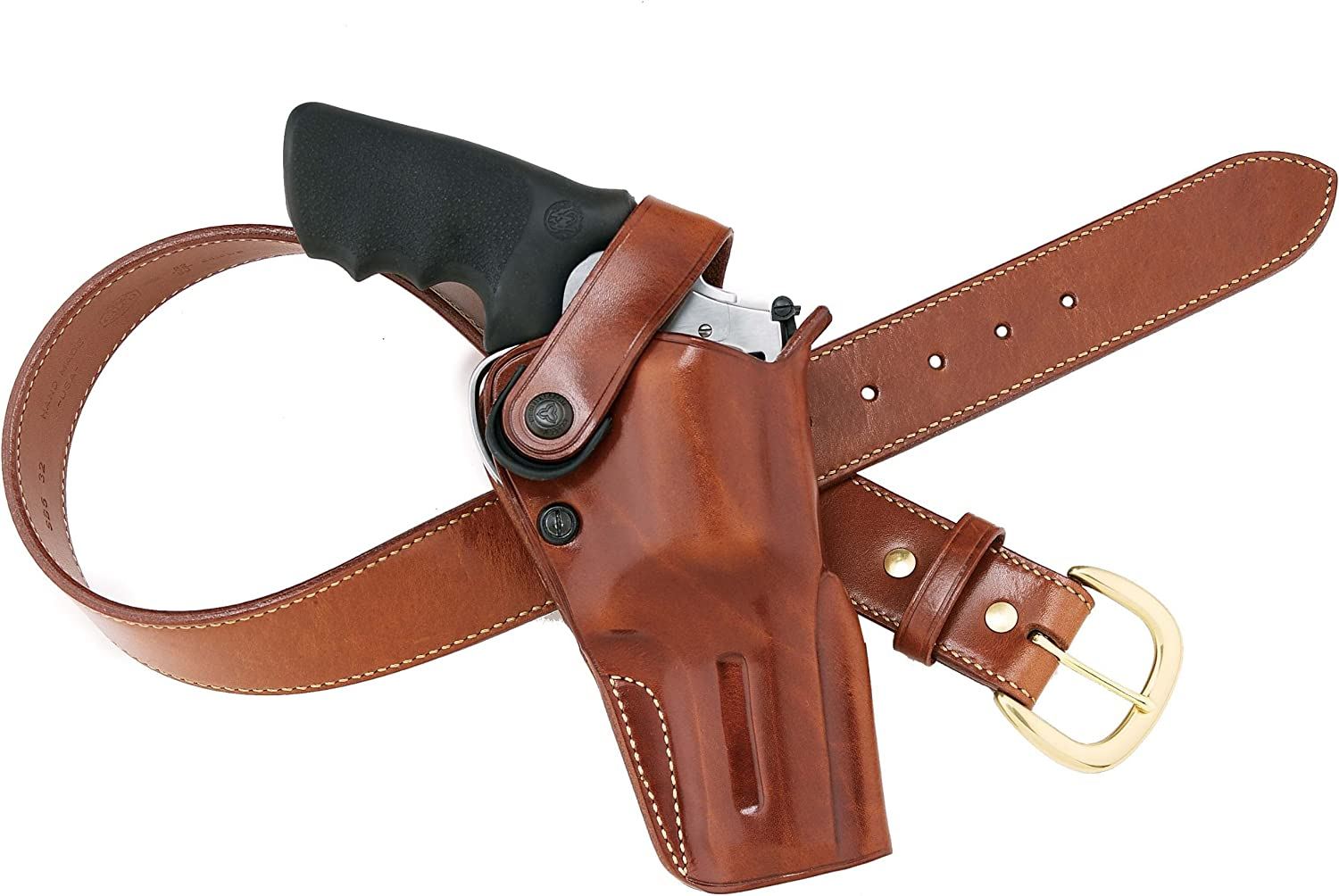 """Alfonso/'s Brown Leather Suede Lined Western Holster for 6/"""" L Frame 686 Revolver"""