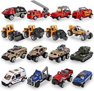 16 PCS Mini Diecast Metal Assortment Pocket Vehicles Toy Car Gift Pack Play Set for Kids