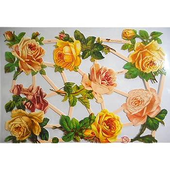 # GLANZBILDER  # EF 7346 tolle gelbe /& helle Rosen wunderschöner Bogen !