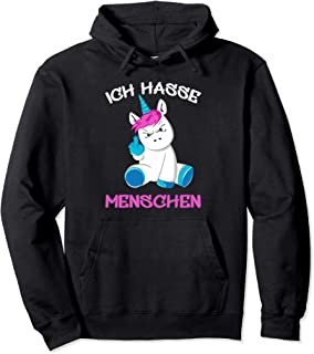 K/ängurutasche Print-Pulli Comedy Shirts Damen Hoodie Langarm Luscherndes Einhorn Kapuze