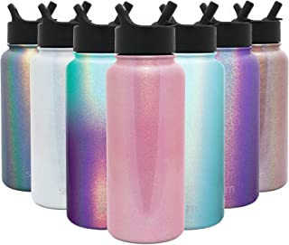 Simple Modern 32oz Summit Water Bottles with Straw Lid - Vacuum Insulated Tumbler Double Wall Travel Mug 18/8 Stainless Steel Flask - Shimmer: Rose Quartz