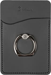 Acquality PU Leather Cell Phone Wallet / Pocket / Card Holder with Ring Stand for Mobile Devices, Adhesive Sticker Back (Black)