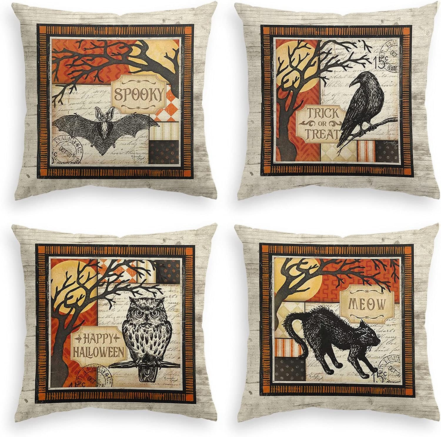 AVOIN colorlife Happy Halloween Spooky Trick or Treat Meow Throw Pillow Cover, 18 x 18 Inch Bat Raven Owl Cat Cushion Case for Sofa Couch Set of 4