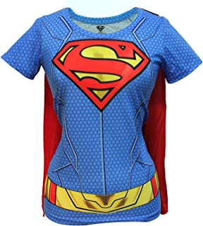 Juniors: Supergirl- Costume Tee with Cape Juniors (Slim) T-Shirt