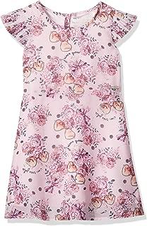 Girls' Little Short Sleeve Pinky Flower Printed Dress
