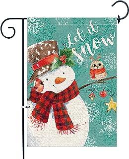 شجرة بونساي أعلام منزل شتاء 28 × 40 بوصة، الخيش مزدوجة الجانب كبير عيد الميلاد رجل الثلج العلم لفناء الديكور الخارجي
