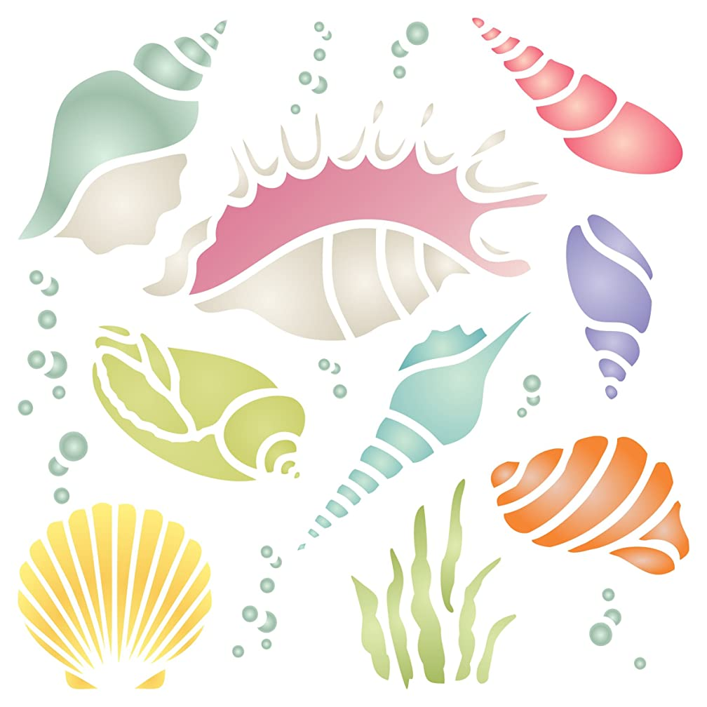 Shells Stencil - 6.5 x 6.5 inch (M) - Reusable Sea Ocean Nautical Seashore Reef Wall Stencil Template - Use on Paper Projects Scrapbook Journal Walls Floors Fabric Furniture Glass Wood etc.