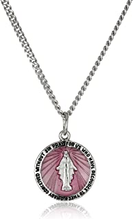 Sterling Silver Miraculous Medal with Pink Epoxy and Stainless Steel Chain Pendant Necklace, 20