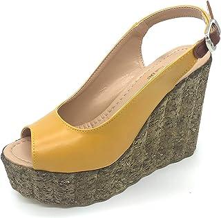Binbon - Dolgu Topuk Ayakkabı - 12 CM Topuk Yüksekliği Hardal ve Kırmızı Renk