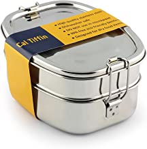 Cal Tiffin Stainless Steel OVAL Bento Lunchbox 40 oz, 3-compartment - Eco friendly, Dishwasher safe, BPA free, Plastic free