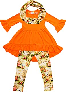 学步小女孩秋色复古花卉套装带无限围巾