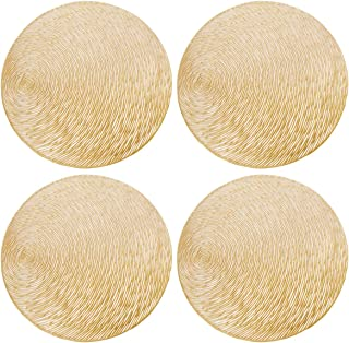 GlobalDream Redondos Salvamanteles, 4 Piezas Manteles Individuales Mantel Individual Tapetes para Mesa de Comedor Kitchen Placemat (Oro, 38cm)