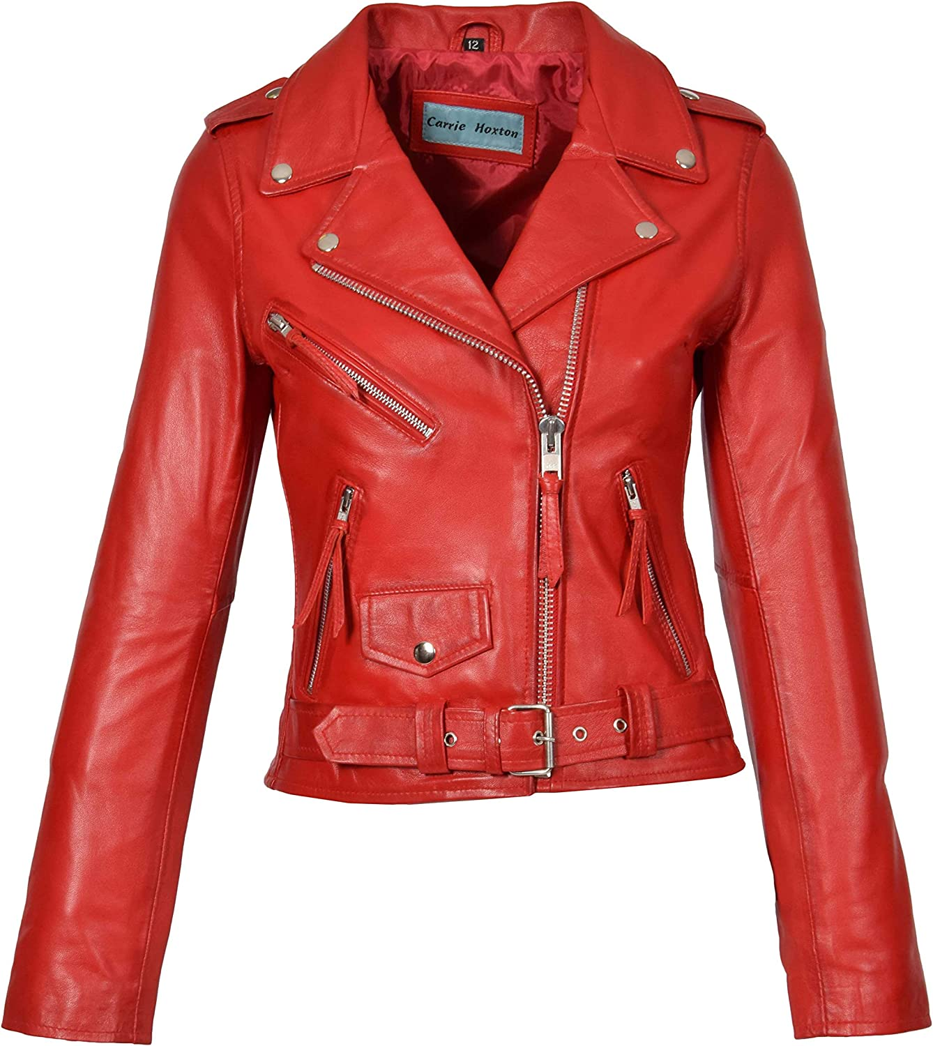 A1 FASHION GOODS Womens Red Leather Biker Style Jacket Girls XZip Fitted Coat Garnet