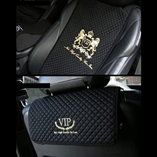 VIP Premium Black Car Seat Covers Mat Lion Gold Stitch Logo for All Motors Auto Vehicle Seatcover (1pack)