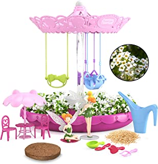 Kids Zone Fairy Garden Kit for Girls with 2 Fairies   Complete Garden Starter Kit with Seeds   Best DIY Gift for 3 - 8 Years Old   Gardening Kit with Lights & Music (Pink with Fairies)