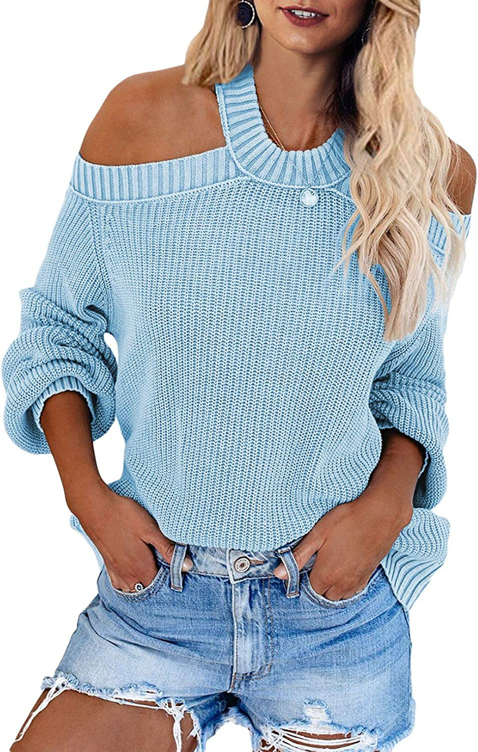 GOSOPIN Women Cold Shoulder Loose Fit Knit Sweater Pullover Top
