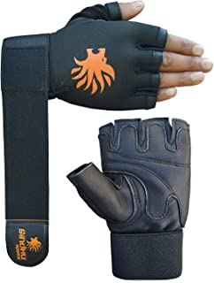 Sindhu Sports Fitness Gym Workout Leather Gloves with 50 cm Elastic Wrist Support Foam Padding on Palm to Protect Heavy Weight Lifting, Front Design for Proper Grip
